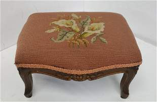 Carved Calla Lily Needlepoint Walnut French Footstool