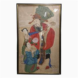 Lg 67in Antique Chinese Portrait Scroll