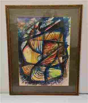 Vintge Eladio Gonzalez Cuban Modernist Watercolor