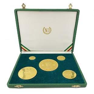 Rare Ethiopian Haile Selassie 5 Gold Coin Set Original