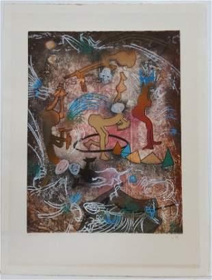 Abstract Surrealist Roberto Matta Etching Aquatint