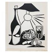 Orig Pablo Picasso Hand Signed Linocut