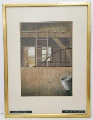 Ronald Millard Horse Stall Barn Painting Watercolor