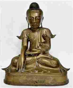 Large Old Burmese Bronze Seated Buddha Statue