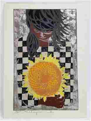 Nakayama Tadashi Girl w Sunflower Woodblock Print 1957