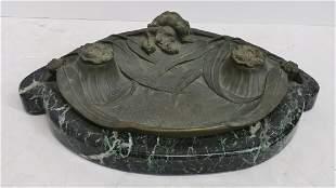 M Bertin Bronze French Art Nouveau Ink Well Pen Tray