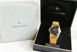 14k Gold Hamilton Electric Pacer Black Dial Watch w Box