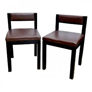 Set 4 Ado Chale Articulated Back Wood Leather Chairs
