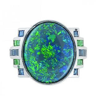 GIA Nat Black Opal Platinum Nat Emerald Sapphire Ring