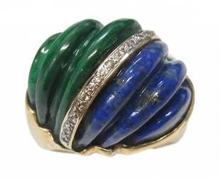 Heavy 14k Gold Carved Lapis Malachite Diamond Dome Ring