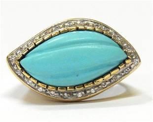 Persian Turquoise Diamond 18k Gold Midcentury Ring