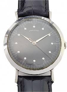Unusual Hamilton 735 185 Mechanical Black Dial Watch