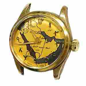 Extremely Rare 1950s Rolex Tudor Map Dial Arabic Watch