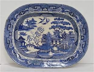 Lg Blue White Willow Beech Hancock & Co Porcelain Plate