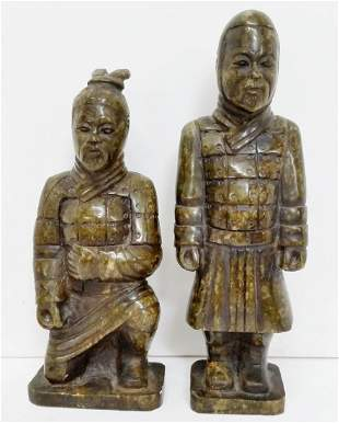 Pair Old Chinese Qing Republic Warrior Statue
