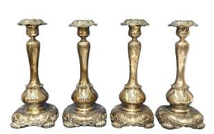 Tiffany Sterling Silver Christies Label 4 Candlesticks
