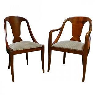 Pair Biedermeier Style Classical Art Deco Chairs