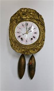 Mondrel Antique Wag On Wall Stamped Gilt Brass Clock
