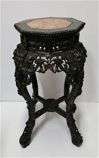 Chinese Tall Qing Carved Marble Top Hardwood Table