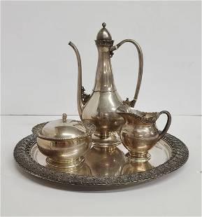Rare Tiffany Arabesque Persian Sterling 4pc coffee Set