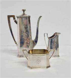 Art Deco 1915 Sterling Silver Gorham 3pc Chocolate Set