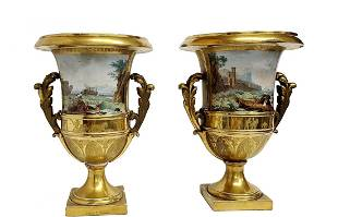 Pair Large Antique HP Sevres Urns Empire French Harbor