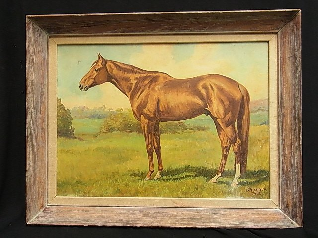 Ole Larsen Equestrian Horse WHIRLAWAY 1941 Painting CNX