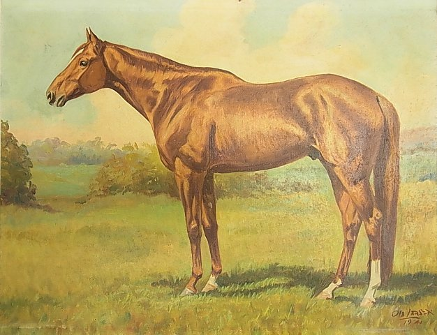 Ole Larsen Equestrian Horse WHIRLAWAY 1941 Painting CNX - 3