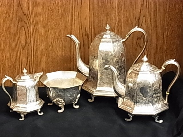 16: 4 Pc Ball Tompkins & Black Coin Silver Tea Set J C