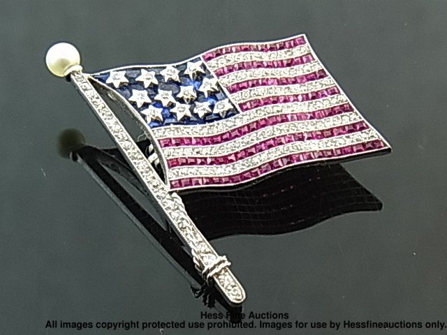 18: RARE Bailey Banks Biddle Diamond Platinum Flag Pin