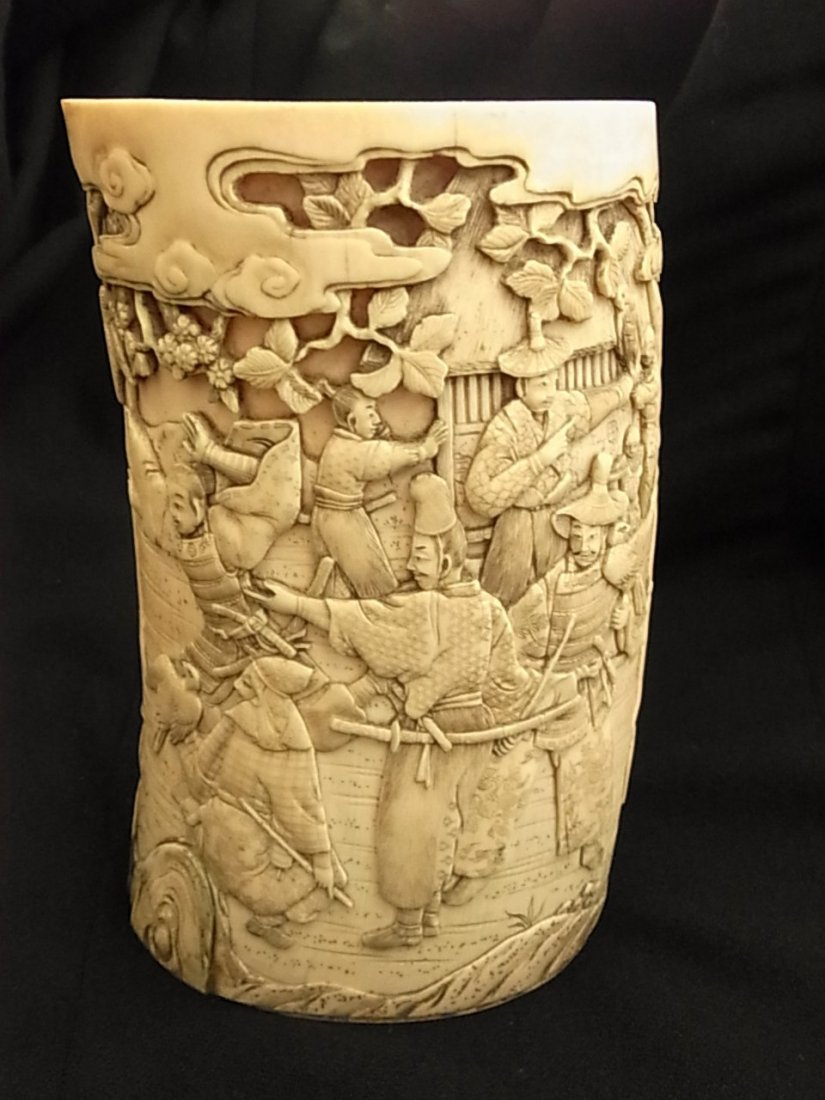 24: Fine Antique Carved Signed Japanese Ivory Tusk Warr