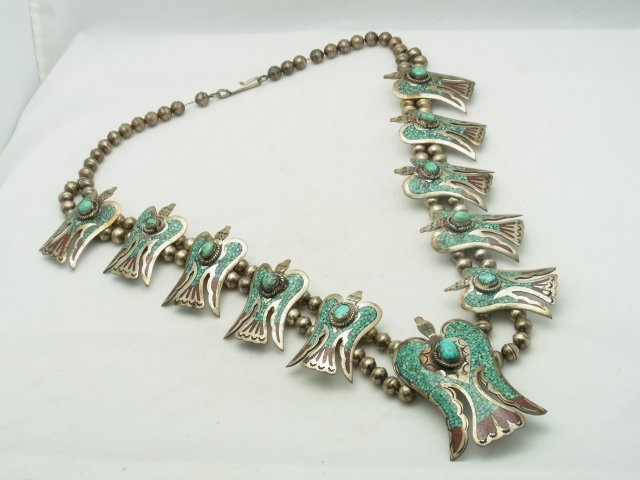 9: Large Silver Turquoise Coral Inlay Native American I
