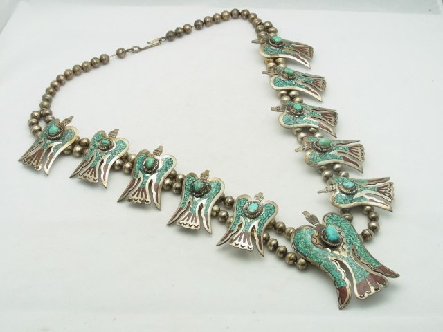 9: Large Silver Turquoise Coral Inlay Native American I - 2