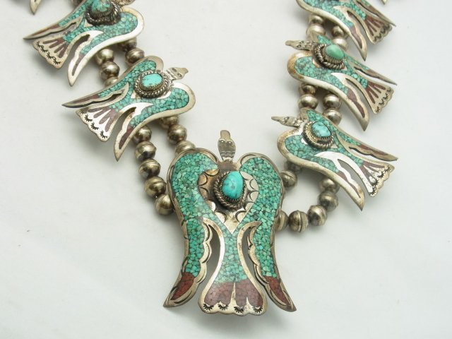 9: Large Silver Turquoise Coral Inlay Native American I - 3