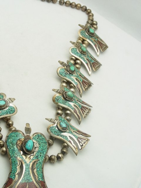 9: Large Silver Turquoise Coral Inlay Native American I - 5