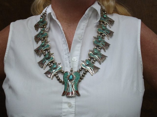 9: Large Silver Turquoise Coral Inlay Native American I - 9