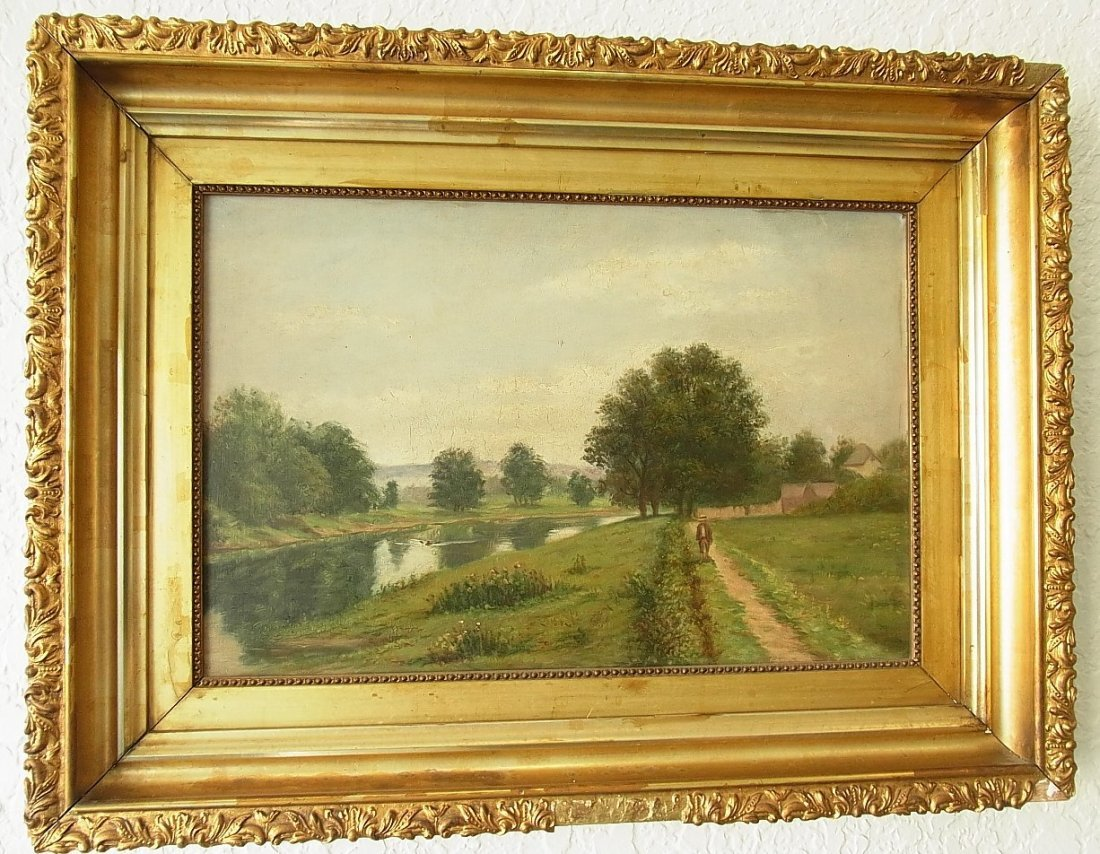 5: 19C American School Summer Landscape Oil Painting Fi