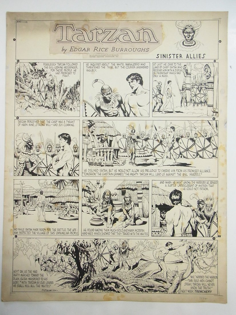 15: Hogarth, Burne Tarzan, Sunday comic strip, NY, Sini