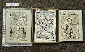 163 3 Three Original Marvel Comic Sheets signed Rick B