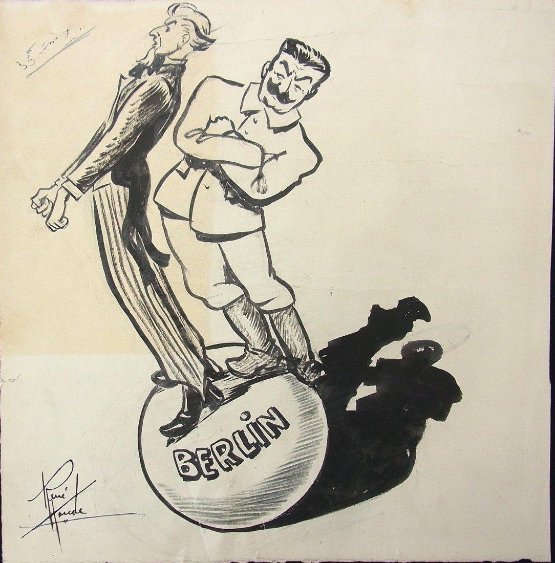 14: Rene Houde 1948 Uncle Sam Stalin Berlin L' Action C