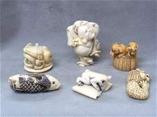 190: 6pc Collection of Antique Hand Carved Ivory Asian