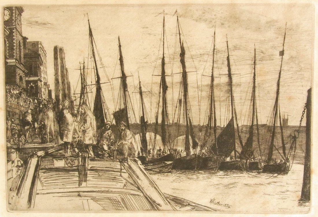 5: James A. M. WHISTLER Billingsgate Etching Signed and