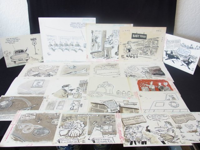 2: Collection Don Addis 21 Orig Cartoon Drawings Politi