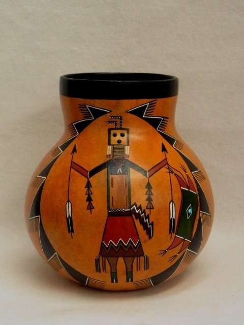 38: Hand Painted Gourd Pot Vase Navajo Yei Signed Ron R