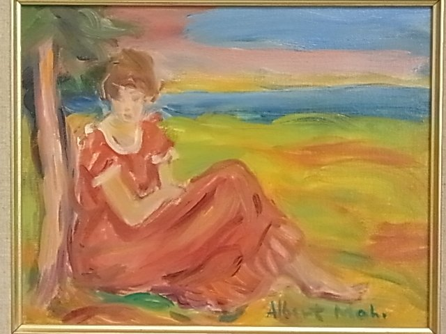 30: Albert Mohr Female Seated in a Landscape Oil Painti