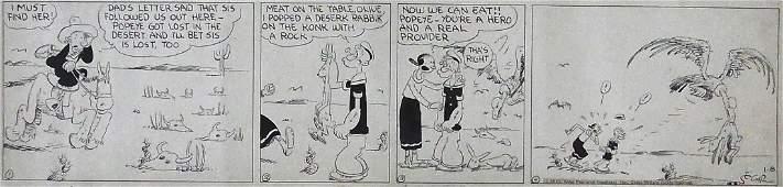 6: E. C. Segar POPEYE & Olive Oyl 4 Panel Comic Strip