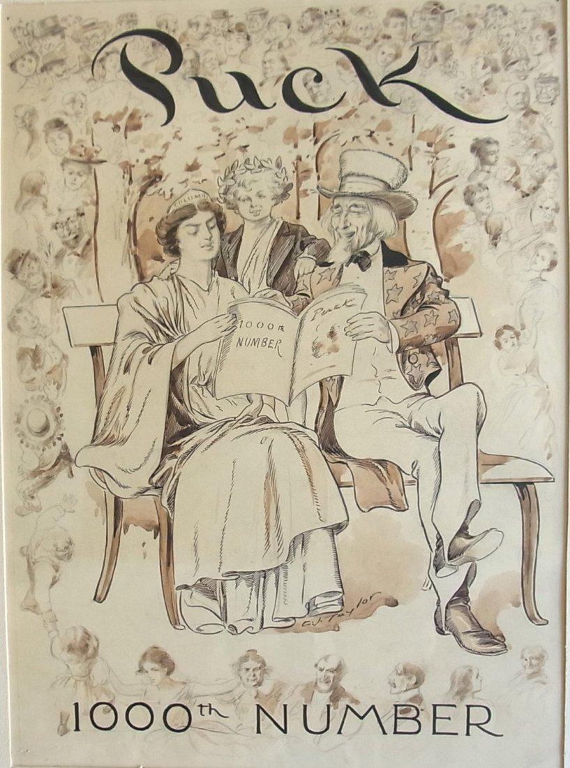 4: Charles Jay Taylor Puck Magazine 1000th Issue 1896 U