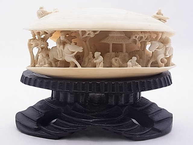 1: Carved Antique Asian Ivory Miniature Carving CLAM SH