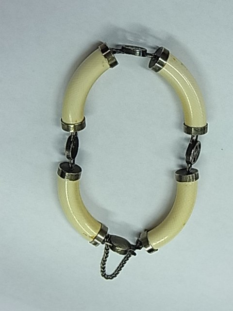 17: Antique Silver Mounted Chinese Ivory Medallion Bang
