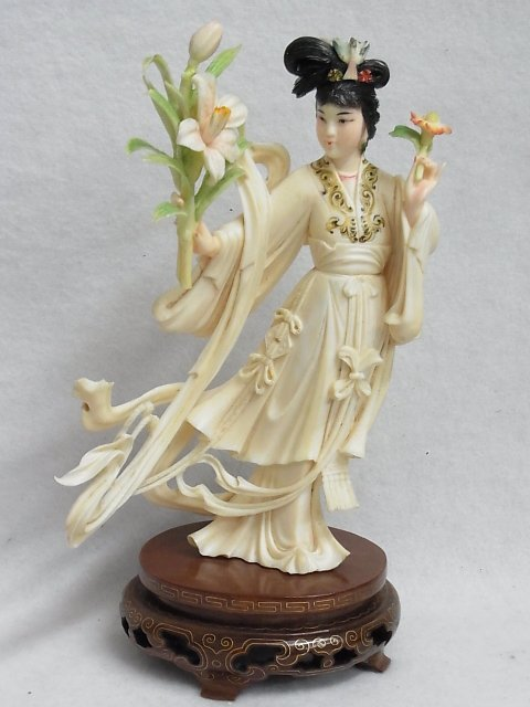 14: Antique Ivory Polychrome Boxed Guan Yin Ivory Statu